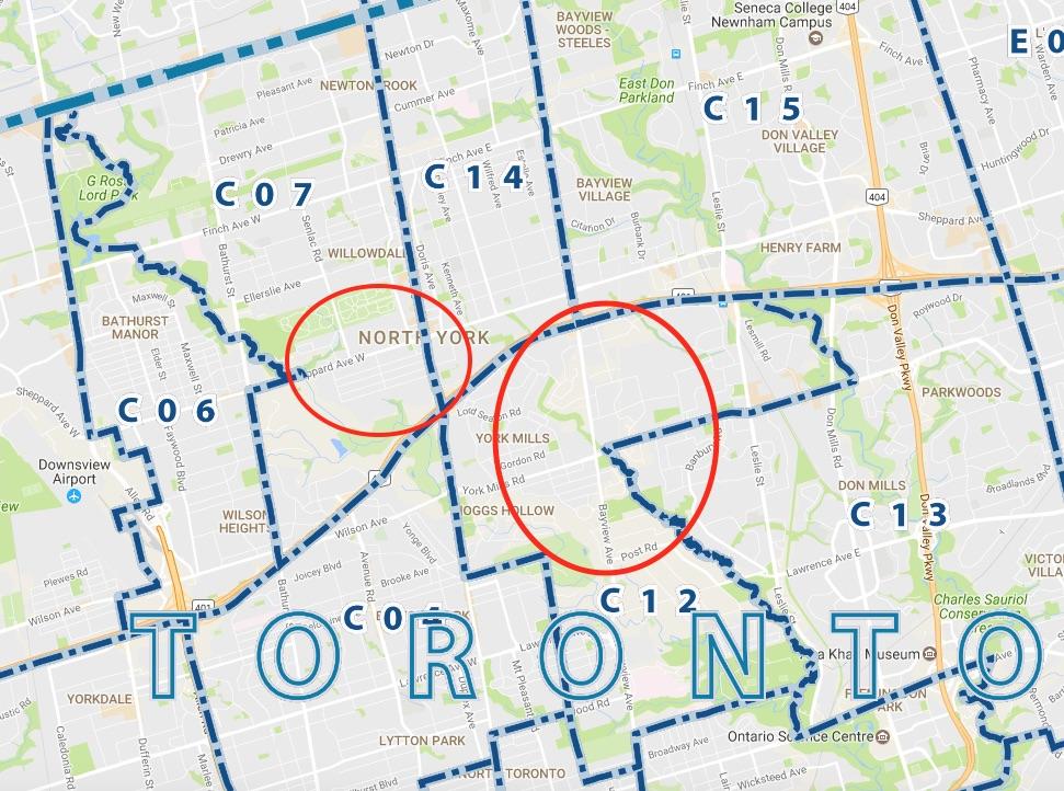 Toronto bayview Yonge Street C07 C12 C13